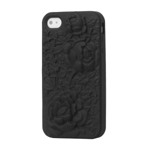 Flowers Silicone Cover Case 3D for iPhone 4 4S - Black