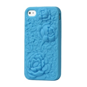 3D Silicone Flowers Cover for iPhone 4 4S - Blue