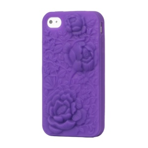 3D Flowers Silicone Case for iPhone 4 4S - Purple