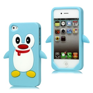 Cute Penguin Silicone Skin Case Cover for iPhone 4 4S - Light Blue