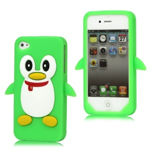 Cute Penguin Silicone Skin Case Cover for iPhone 4 4S - Green