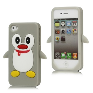 Cute Penguin Silicone Skin Case Cover for iPhone 4 4S - Grey