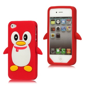 Cute Penguin Silicone Skin Case Cover for iPhone 4 4S - Red