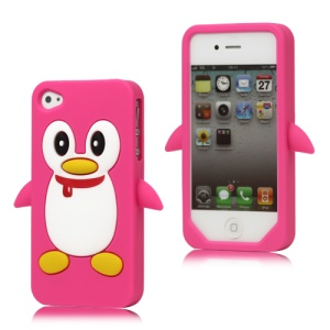 Cute Penguin Silicone Skin Case Cover for iPhone 4 4S - Rose