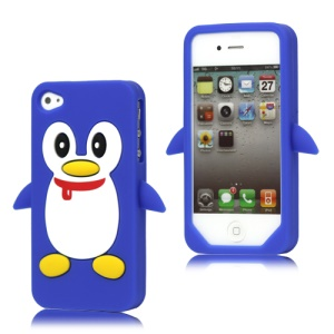 Cute Penguin Silicone Skin Case Cover for iPhone 4 4S - Dark Blue