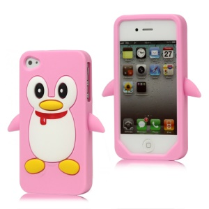 Cute Penguin Silicone Skin Case Cover for iPhone 4 4S - Pink