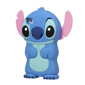 3D Endearing Stitch Silicone Case for iPhone 4 4S - Blue