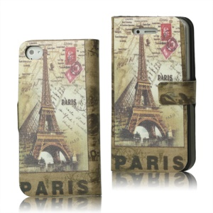 Paris Eiffel Tower Magnetic Leather Case Wallet for iPhone 4 4S