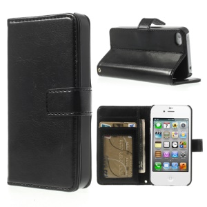 Crazy Horse Magnetic Flip Leather Wallet Case w/ Stand for iPhone 4 4S - Black