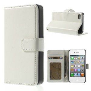 Crazy Horse Magnetic Flip Wallet Leather Cover w/ Stand for iPhone 4 4S - White