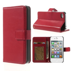 Crazy Horse Magnetic Leather Stand Cover w/ Card Holder for iPhone 4 4S - Red