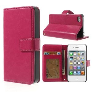 Crazy Horse Magnetic Leather Stand Case w/ Card Holder for iPhone 4 4S - Rose