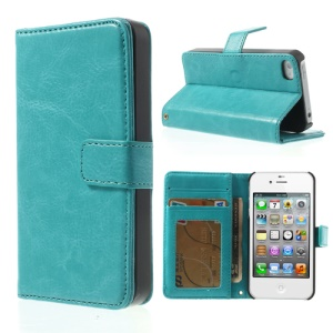 Crazy Horse for iPhone 4 4S Leather Protective Case w/ Card Holder - Turquoise