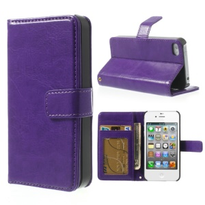 Crazy Horse for iPhone 4 4S Leather Phone Cover w/ Card Holder - Deep Purple
