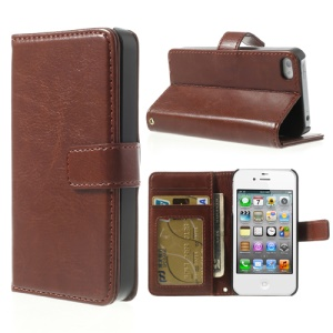 For iPhone 4 4S Crazy Horse Leather Card Holder Protector Cover - Coffee