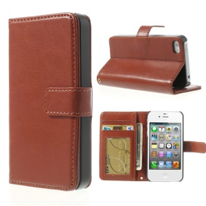 For iPhone 4 4S Crazy Horse Stand Leather Card Holder Phone Shell - Brown