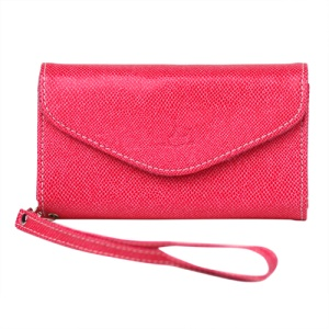 Wallet with Wrist Strap Leather Case for iPhone 4 4S Samsung i9100 etc - Rose