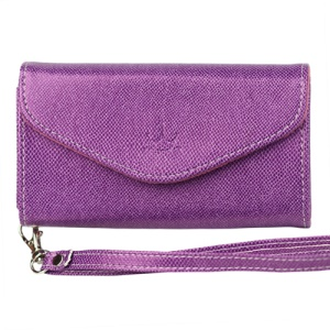 Wallet with Wrist Strap Leather Case for iPhone 4 4S Samsung i9100 etc - Purple