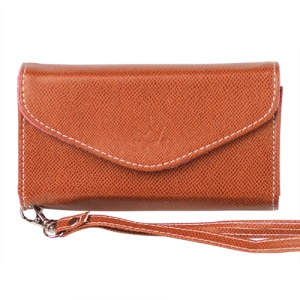 Wallet with Wrist Strap Leather Case for iPhone 4 4S Samsung i9100 etc - Brown