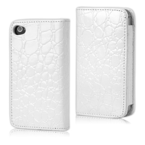 Crocodile Leather Flip Case for iPhone 4 4S - White