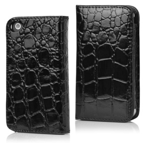 Crocodile Leather Flip Case for iPhone 4 4S - Black