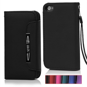Wallet Magnetic Flip Leather Case with Strap for iPhone 4 4S