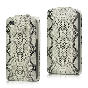 Snake Skin Flip Leather Case for iPhone 4 4S - White