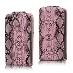 Snake Skin Leather Flip Case Cover for iPhone 4 4S - Pink