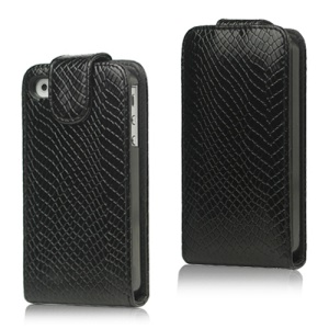 Textured Leather Magnetic Flip Case for iPhone 4 4S - Black