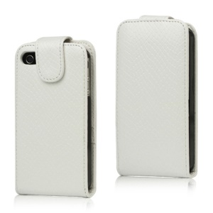 Textured Magnetic Leather Case for iPhone 4 4S - White