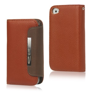Folio Leather Wallet Case for iPhone 4 4S with Strap - Brown