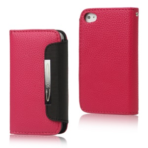 Folio Leather Wallet Case for iPhone 4 4S with Strap - Rose