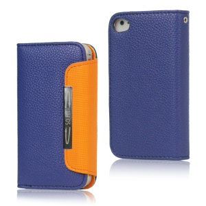 Folio Leather Wallet Case for iPhone 4 4S with Strap - Blue