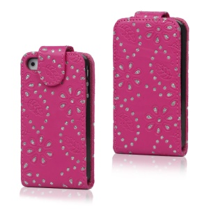 Floral Glitter Powder Leather Flip Case Accessories for iPhone 4 4S - Rose