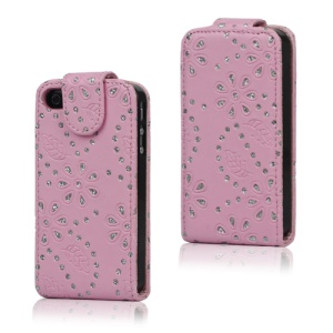 Floral Glitter Powder Leather Flip Case Accessories for iPhone 4 4S - Pink