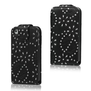 Floral Glitter Powder Leather Flip Case Accessories for iPhone 4 4S - Black