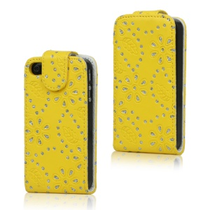 Floral Glitter Powder Leather Flip Case Accessories for iPhone 4 4S - Yellow