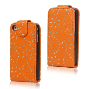 Floral Glitter Powder Leather Flip Case Accessories for iPhone 4 4S - Orange