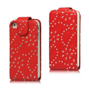 Floral Glitter Powder Leather Flip Case Accessories for iPhone 4 4S - Red