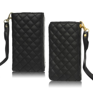 Grid Leather Case Cover for iPhone 4S 4 HTC One V Samsung S5690 Galaxy Xcover - Black