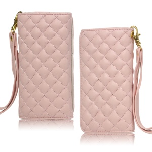 Grid Leather Case Cover for iPhone 4S 4 HTC One V Samsung S5690 Galaxy Xcover - Pink