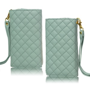 Grid Leather Case Cover for iPhone 4S 4 HTC One V Samsung S5690 Galaxy Xcover - Green
