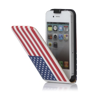 American Flag Leather Case Cover for iPhone 4 4S