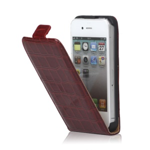 Crocodile Leather Flip Case Cover for iPhone 4 4S - Red