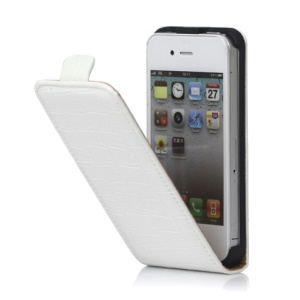 Crocodile Leather Flip Case Cover for iPhone 4 4S - White