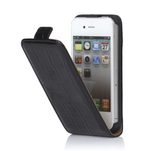 Crocodile Leather Flip Case Cover for iPhone 4 4S - Black