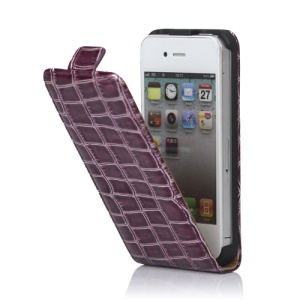 Crocodile Leather Flip Case Cover for iPhone 4 4S - Purple