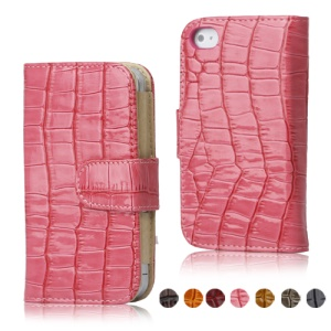 Crocodile Wallet Leather Flip Case Cover for iPhone 4 4S