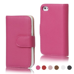 Lychee Magnetic Wallet Leather Case Cover for iPhone 4 4S