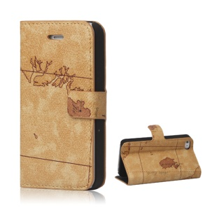 World Map iPhone 4 4S Flip Leather Wallet Case Cover - Brown